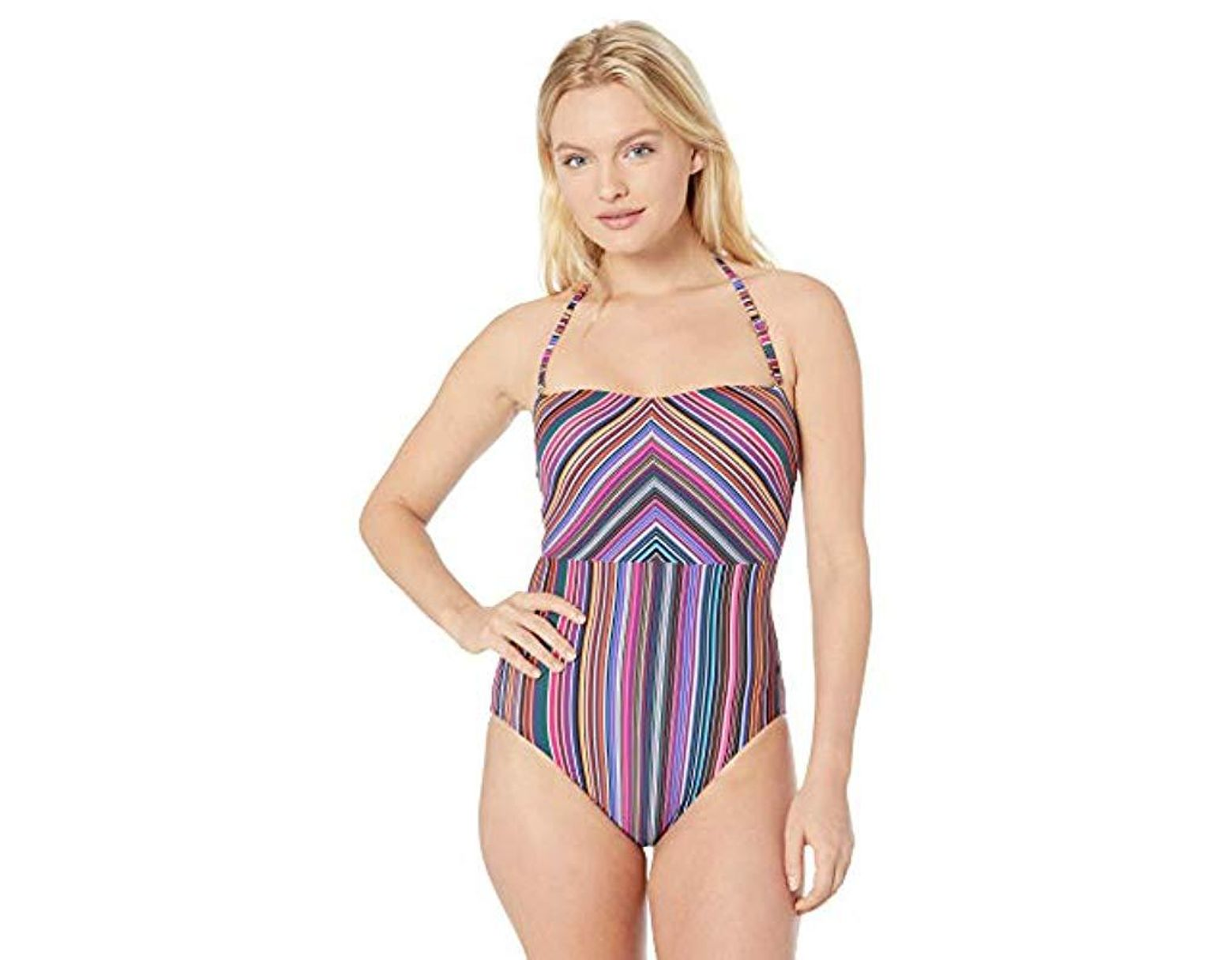 e2953db9658 T Tahari Striped Bandeau One Piece Swimsuit - Lyst