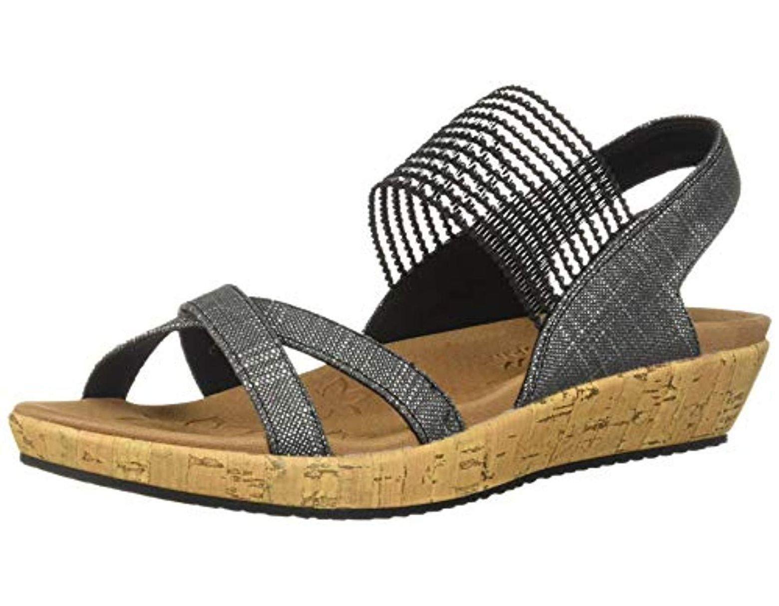 ce0a1672 Skechers Brie-dawdle-sparkle Stretch Vamp Sling Back Sandal in Black - Save  12% - Lyst