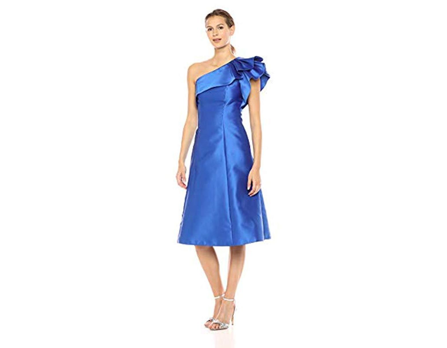 85e2a477bf2c Adrianna Papell One Shoulder Ruffle Sleeve Tea Length Mikado Dress in Blue  - Lyst