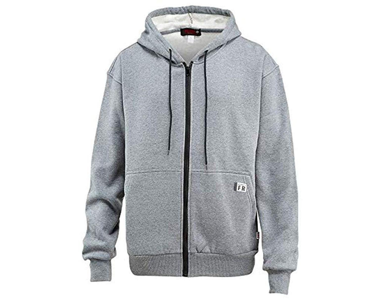 c8d3382793e Men's Gray Flame Resistant Fleece Zip Front Hooded Sweatshirt