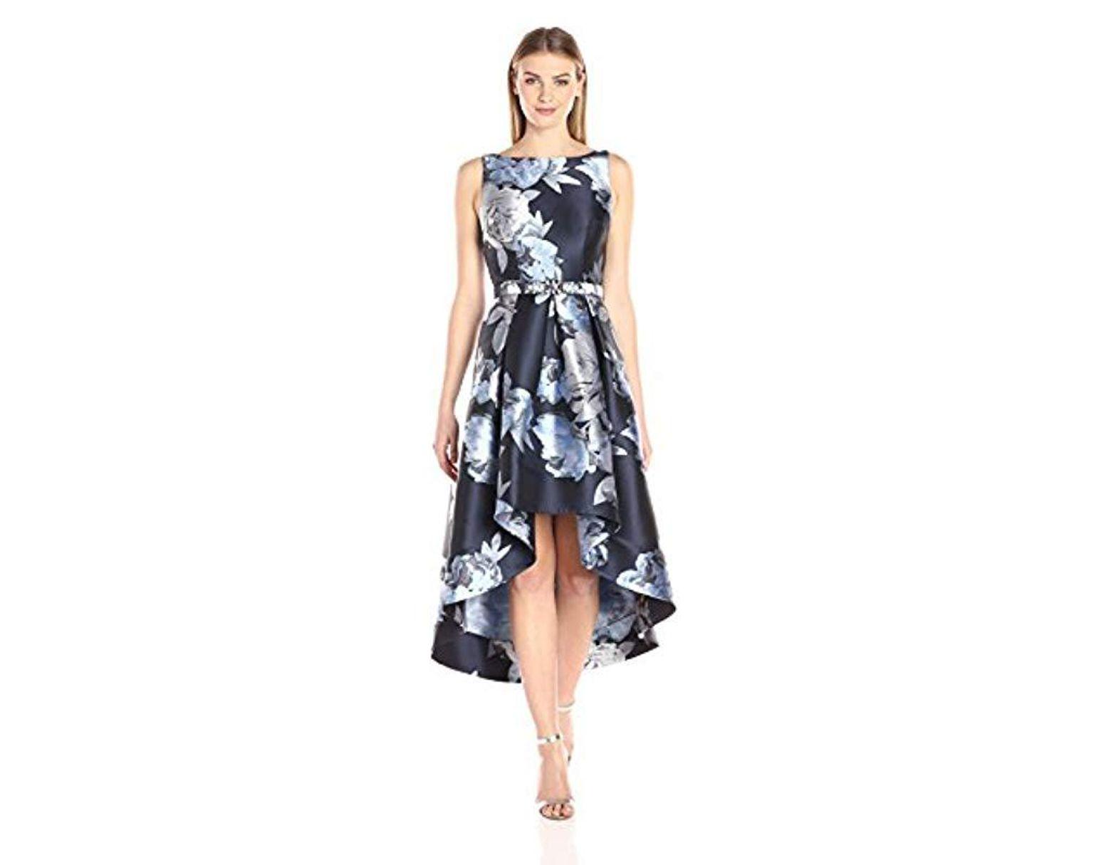 2c3ada736399b Women's Blue Sleeveless Floral High-low Hem Dress