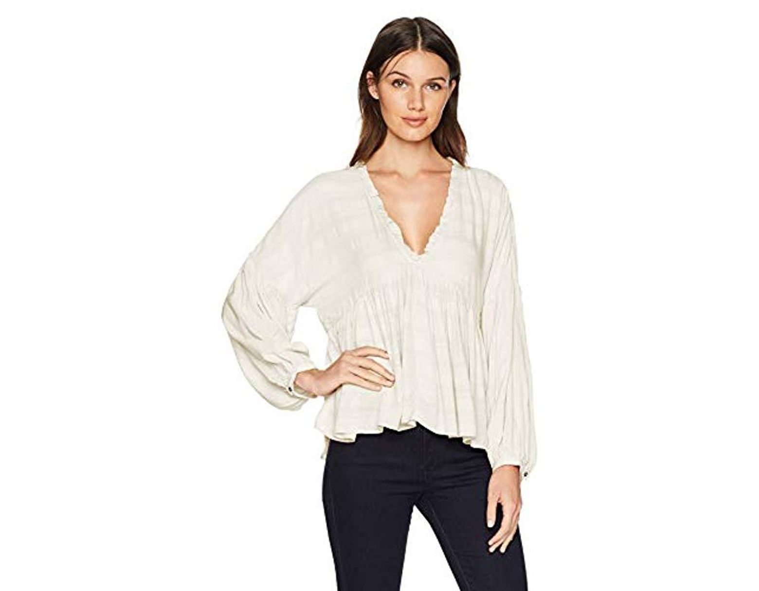 8b2f0a38563821 Lucky Brand Romantic Peasant Ruffle Top in White - Save 55% - Lyst