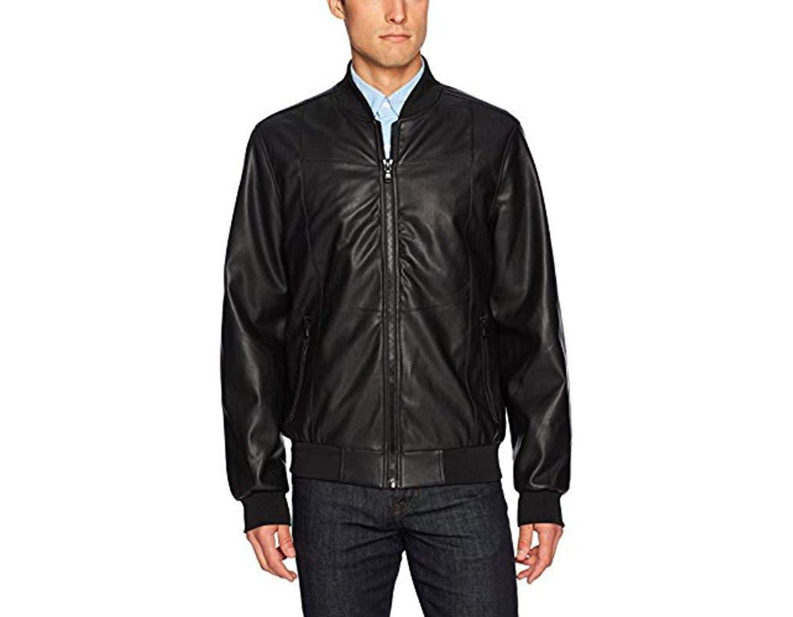 ed469b031 Men's Black Buffalo By David Bitton Faux Leather Bomber Jacket