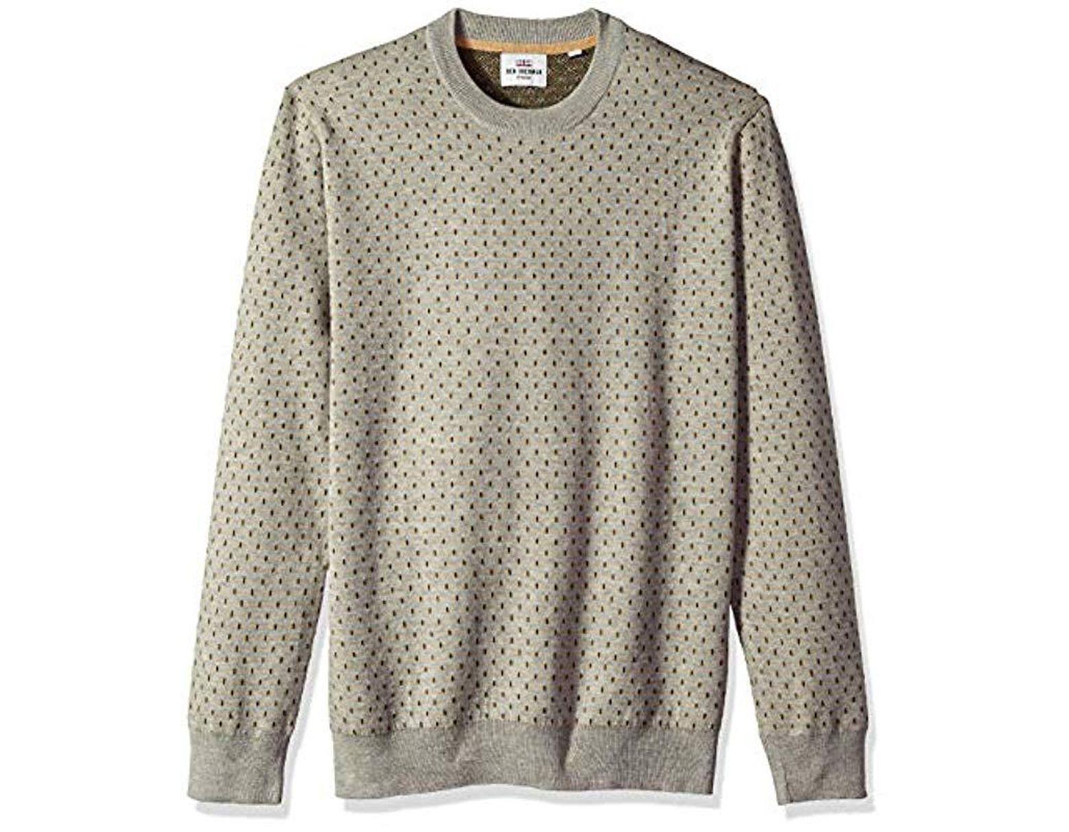 aabfa770034 Men's White Tipping Geo Crew Sweater