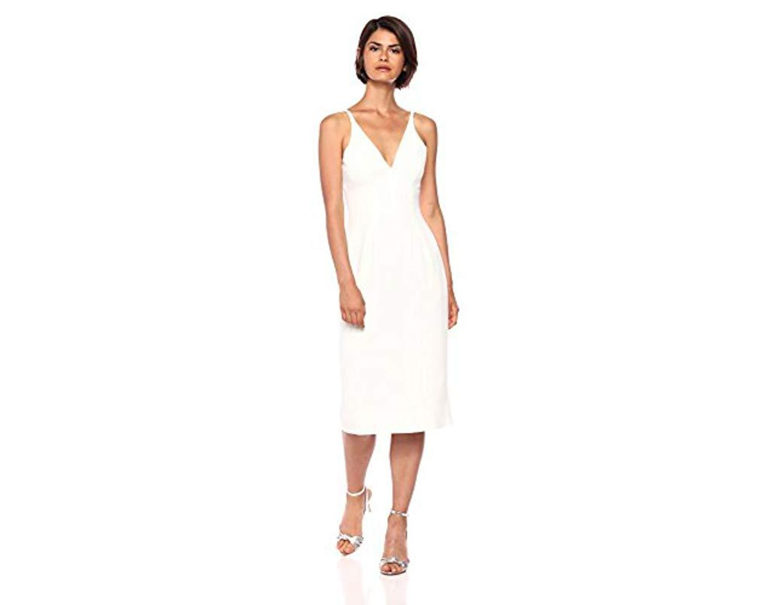 2c076c1c Dress the Population Lyla Plunging Sleeveless Fitted Midi Sheath Dress in  White - Save 2% - Lyst