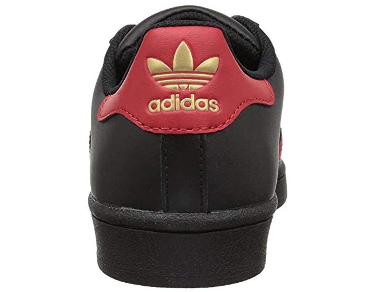 adidas (Adidas) SUPERSTAR J (superstar) sneakers shoes CBLACKSCARLEGOLDMT (black red) S80695