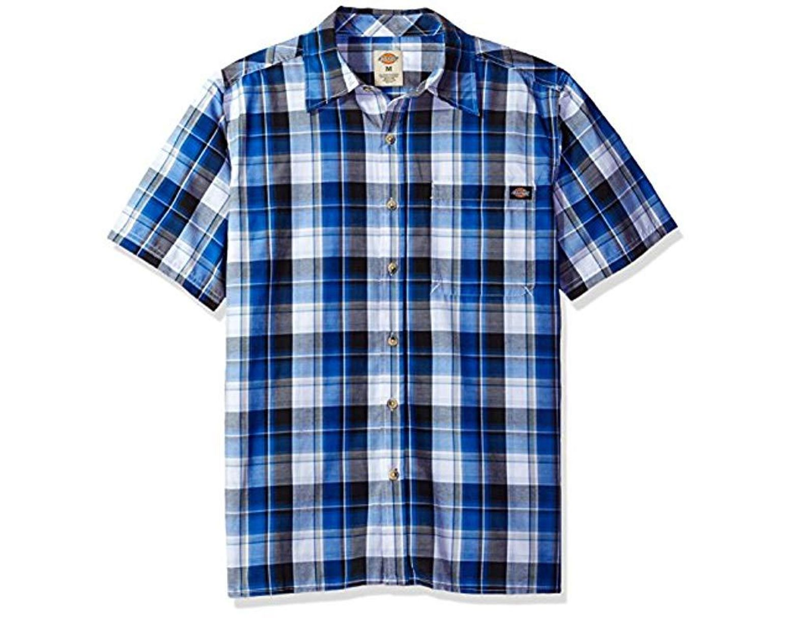 e881bb1f40357 Dickies Relaxed Fit Short Sleeve Square Bottom Plaid Shirt in Blue for Men  - Save 9% - Lyst