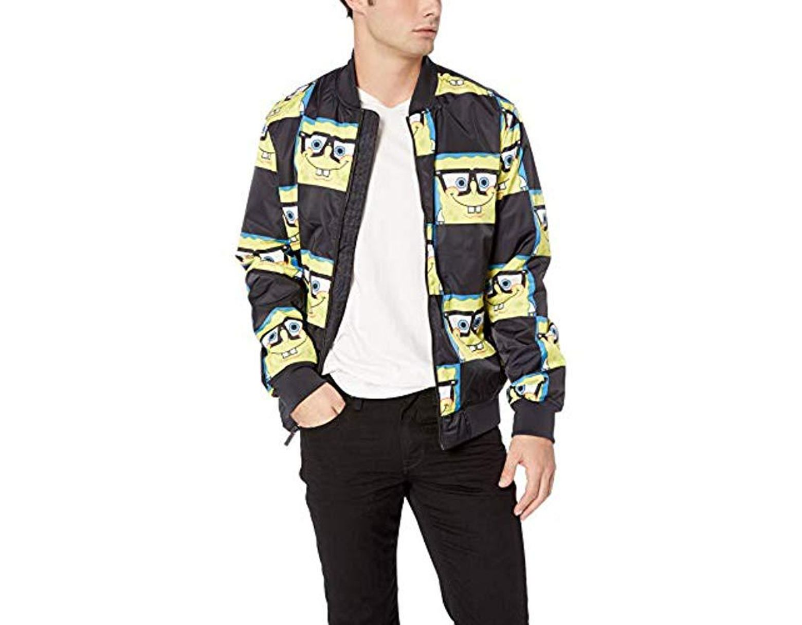 1760acdfc Men's Black Spongebob Bomber Jacket