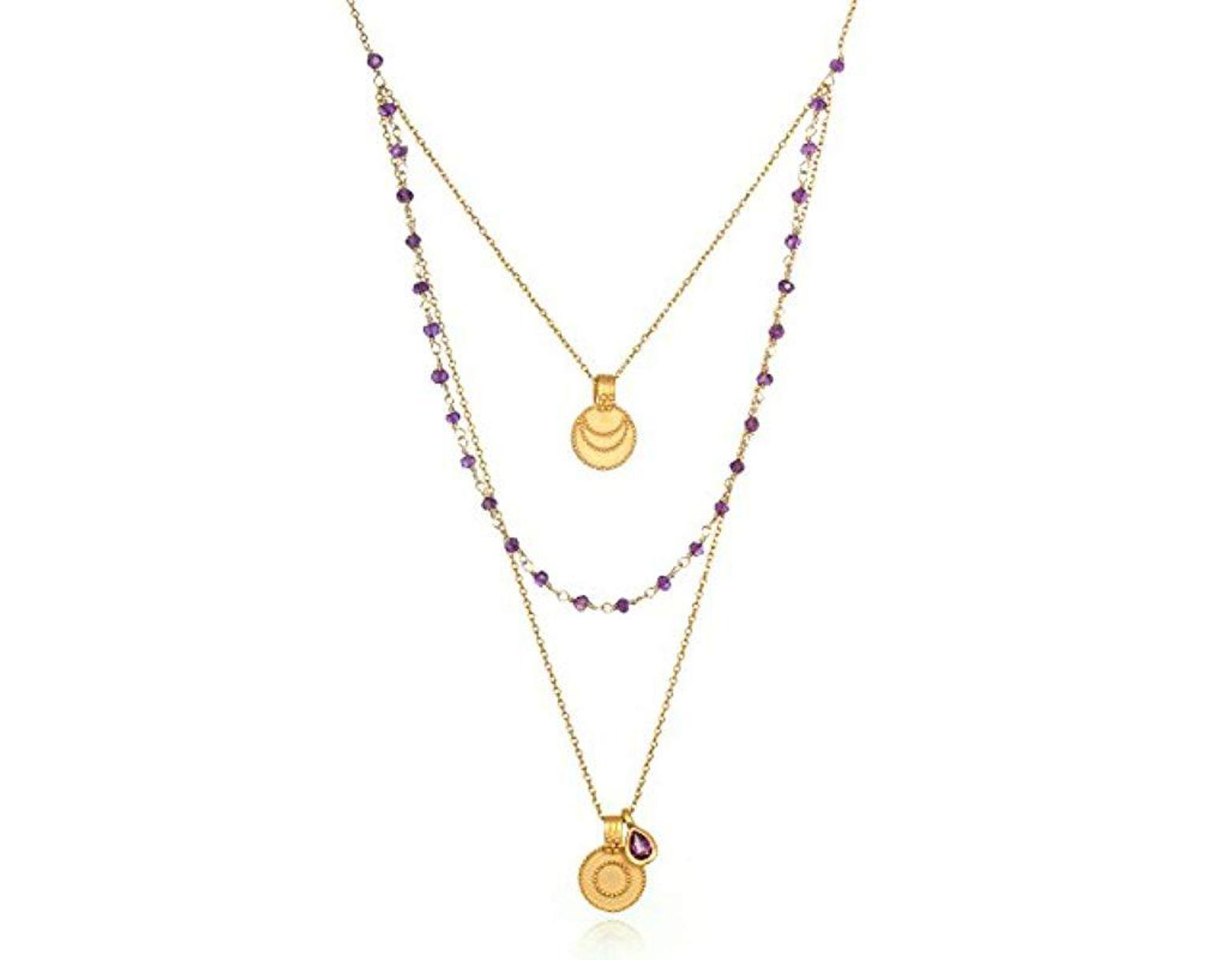Women's Amethyst Gold Sun & Moon Triple Chain Pendant Necklace 22-inch,  Purple, One Size