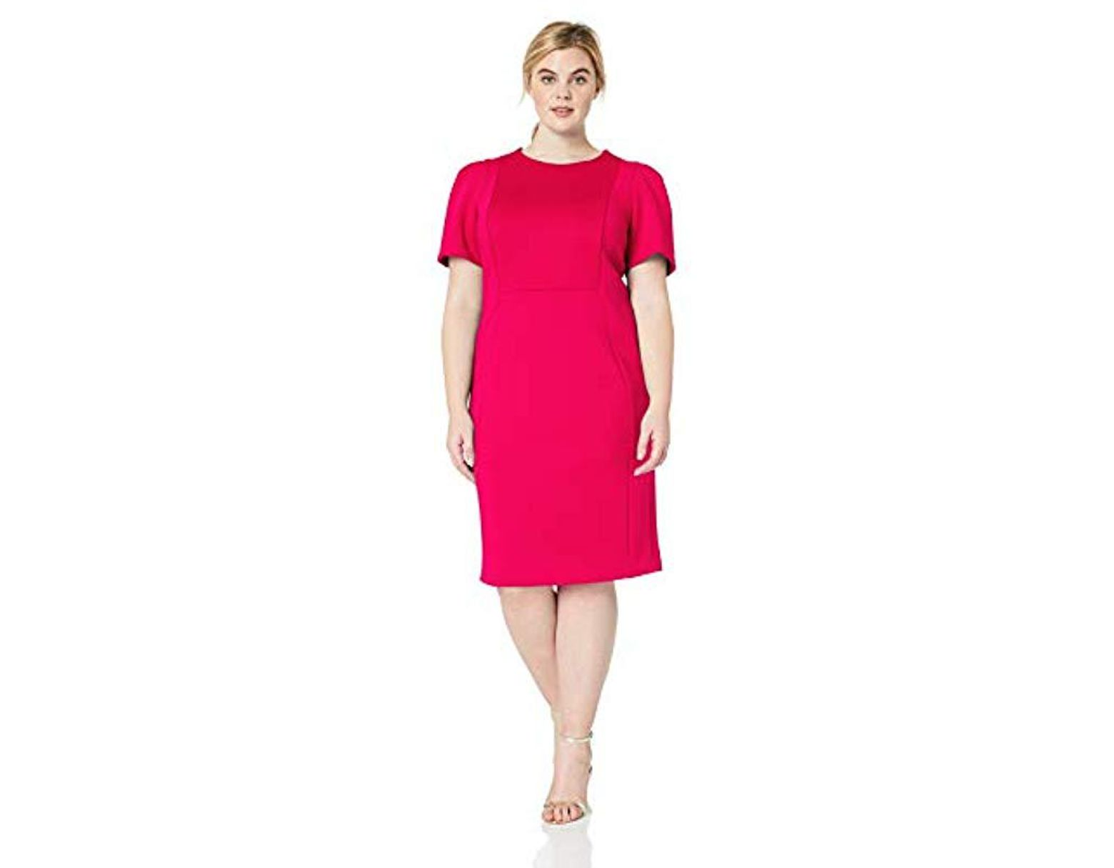 3fd37ed9 Calvin Klein Plus Size Short Sleeved Sheath With Princess Seams Dress in  Pink - Save 5% - Lyst
