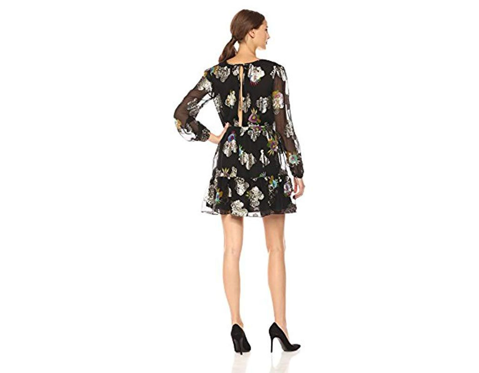 f58956c850 Cynthia Rowley Metallic Long Sleeve Flounce Dress in Black - Save 19% - Lyst