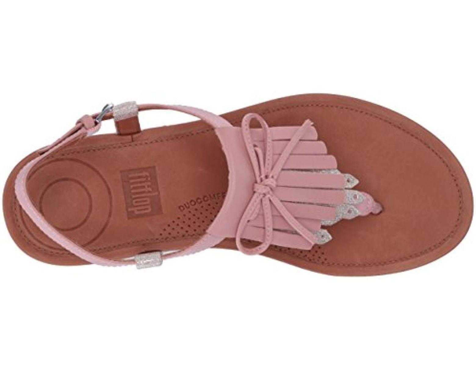 Flat Women's Pink Thong Toe Fringe Sandals Tia 8kn0PXwO