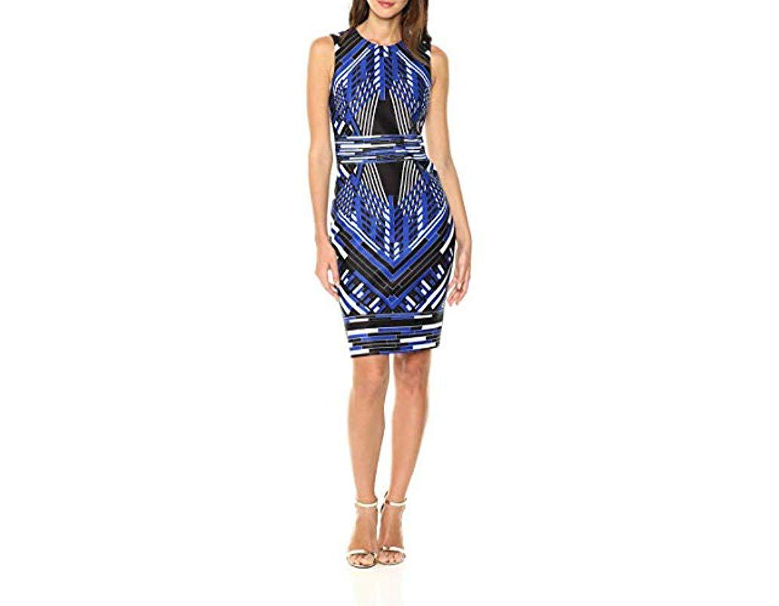 e0ad83894017a3 Calvin Klein Floral Applique Sheath Dress in Blue - Save 60% - Lyst