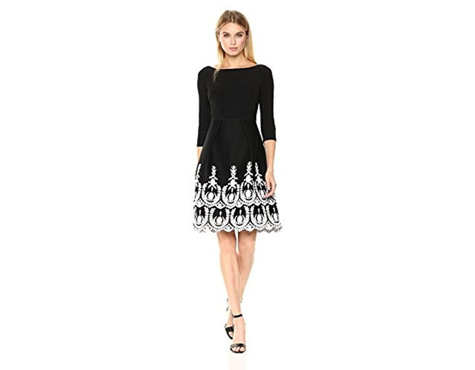 Jessica Naomee women's jersey top with mesh bottom flare dress with embroidery