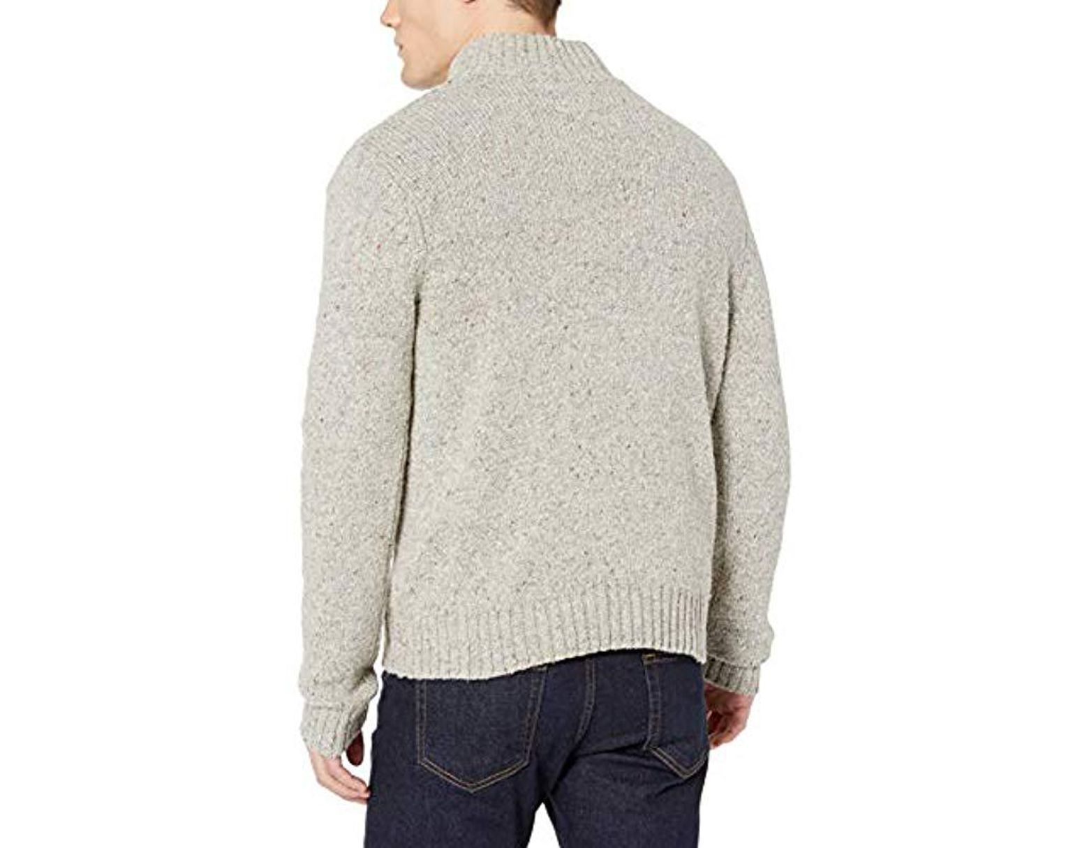 Lucky brand donnegal 1 2 button mock neck sweater in gray for men save 40 lyst