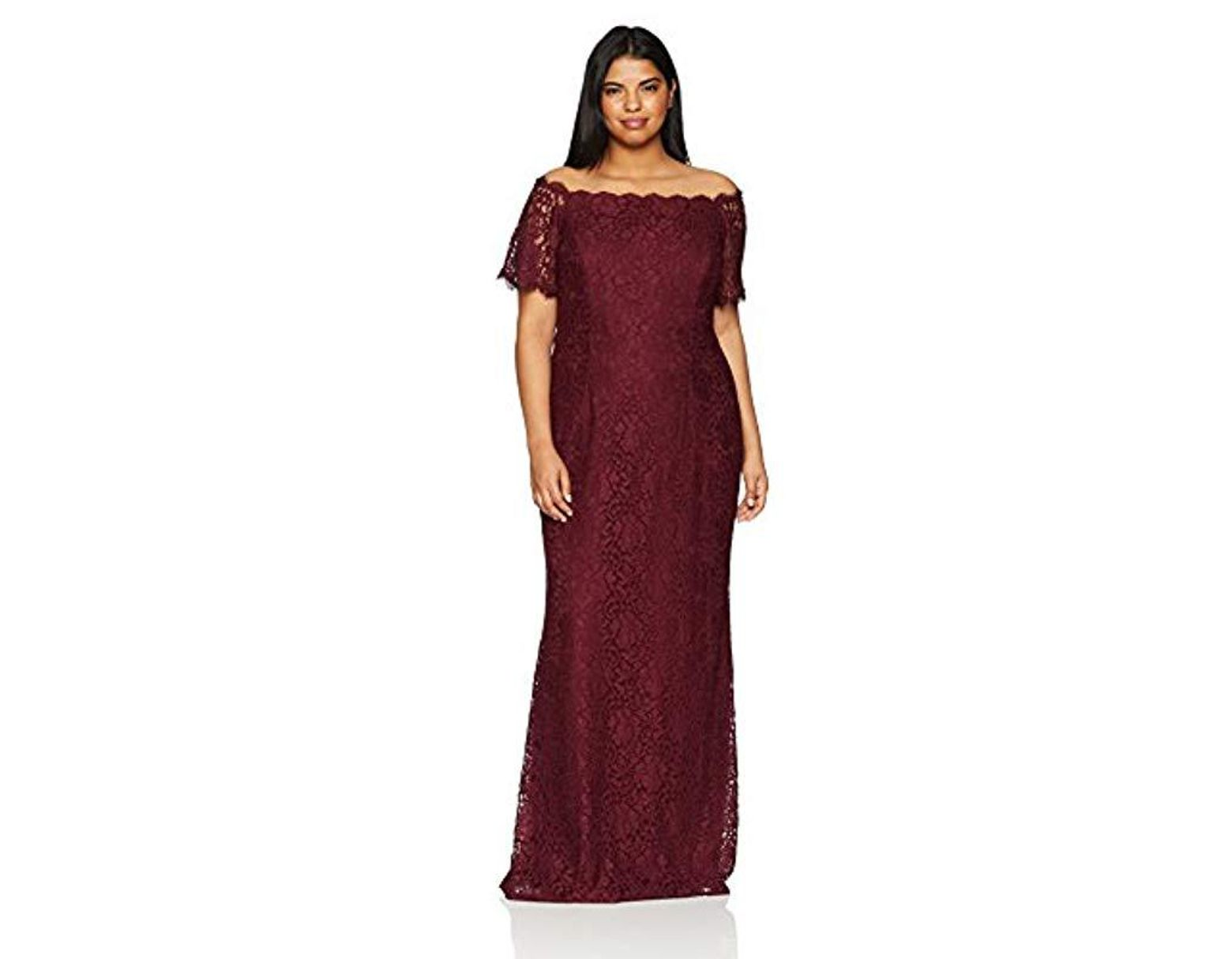 f6c1b5a5 Adrianna Papell Plus Size Lace Off The Shoulder Mermaid Skirt Long Dress in  Purple - Lyst