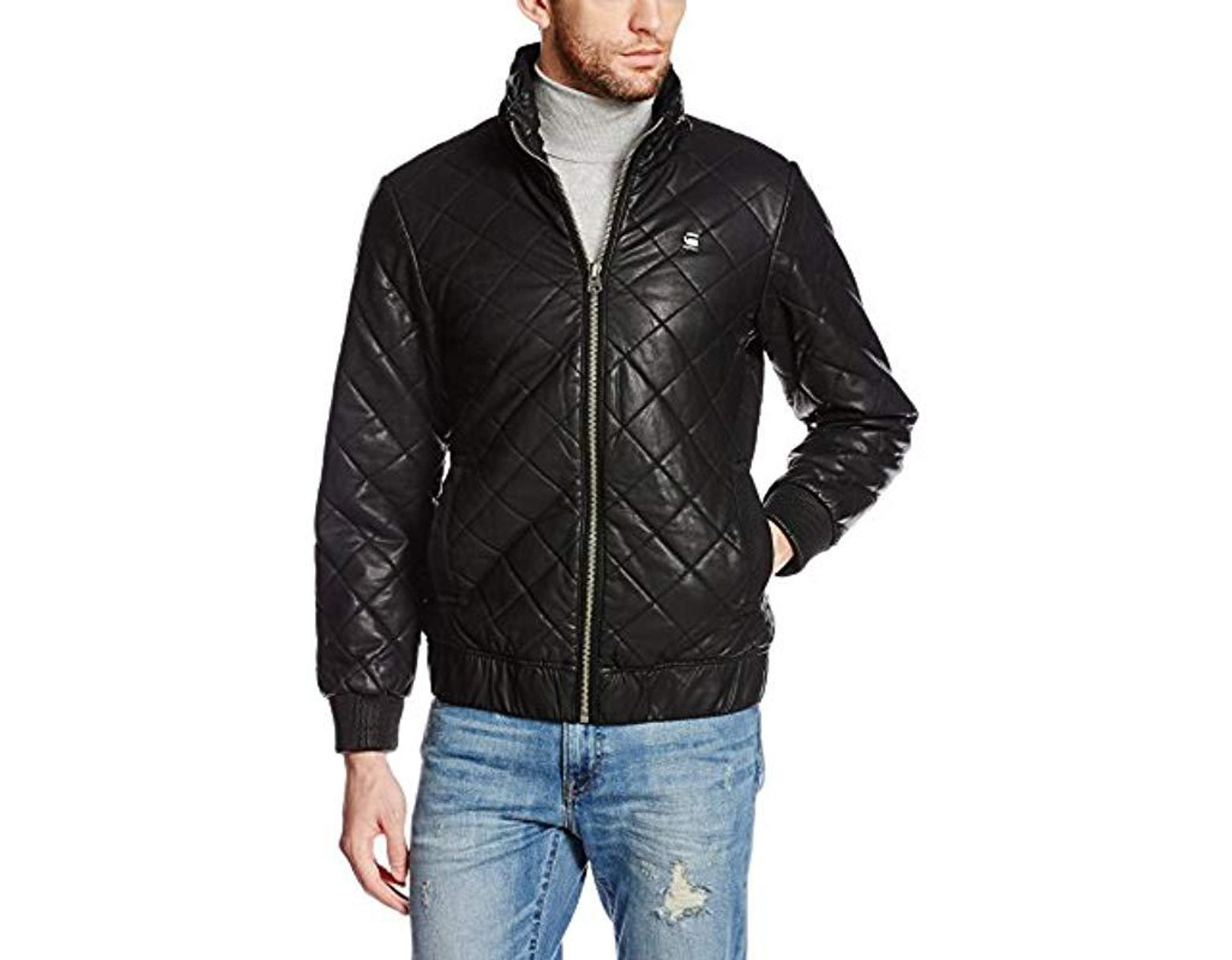 6e10956df Men's Black Meefic Quilted Faux Leather Overshirt Jacket