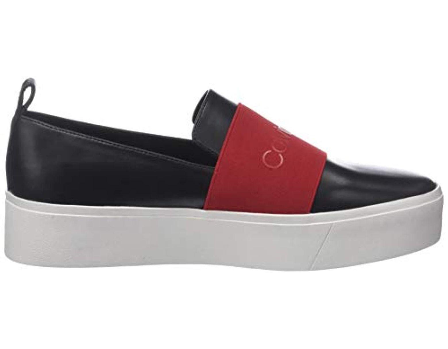 8ad494614740d6 Calvin Klein Jacinta Cow Silk/ck Logo Elastic Loafers in Black - Lyst