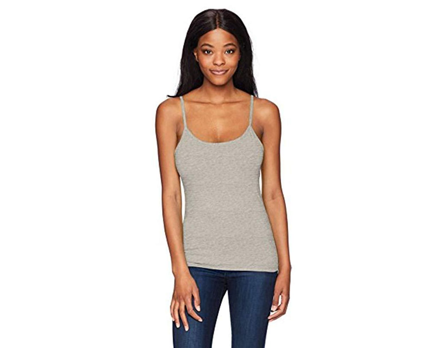 f7a59ff08cf10 Hanes Stretch Cotton Cami With Built-in Shelf Bra in Gray - Save 9% - Lyst