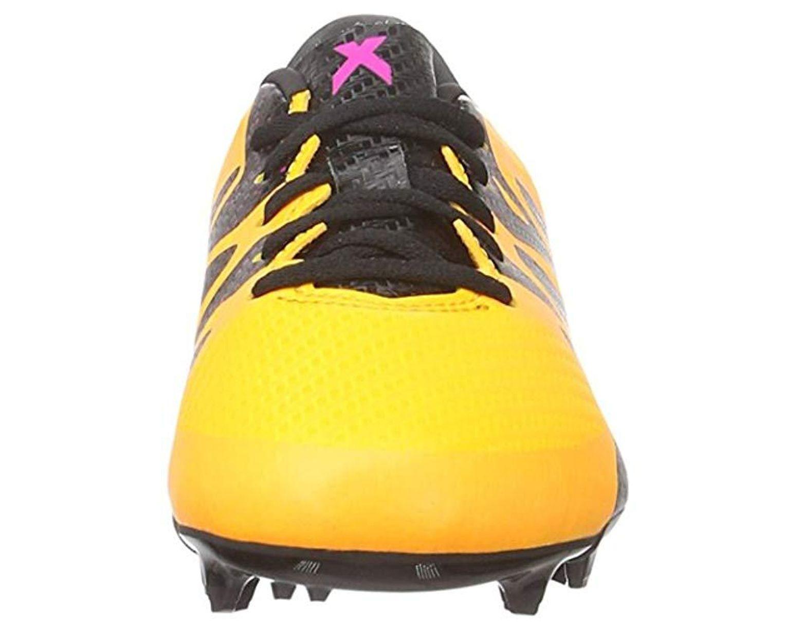 c87193621 X 15.3 FG/AG J S74637, Chaussures de Football Mixte Enfant homme de coloris  jaune