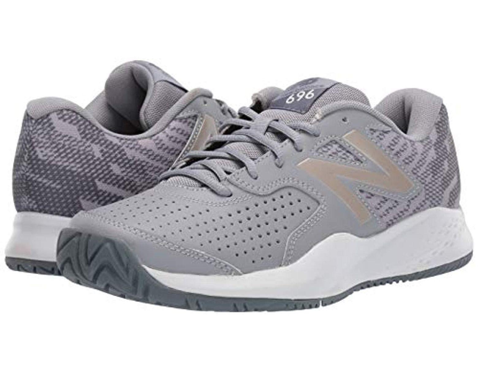 Women's Gray 696v3 Hard Court Tennis Shoe, Steelchampagne, 11 M Us