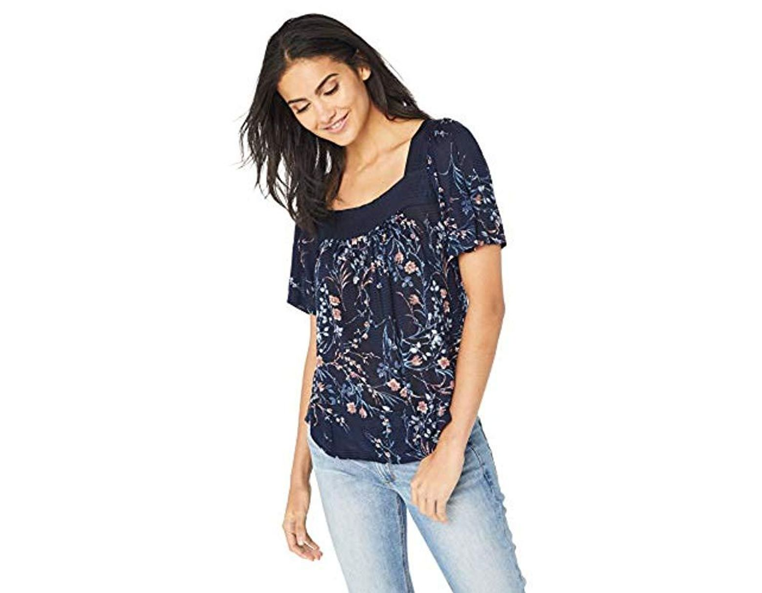 Print Shadow Stripe Top Peasant Women's Floral Blue derxoCBW