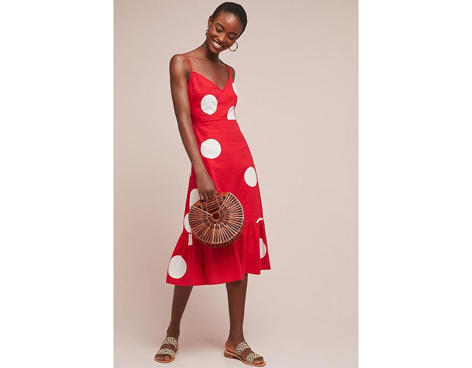 af79ffebf3 Anthropologie Breiz Polka Dot Dress in Red - Lyst
