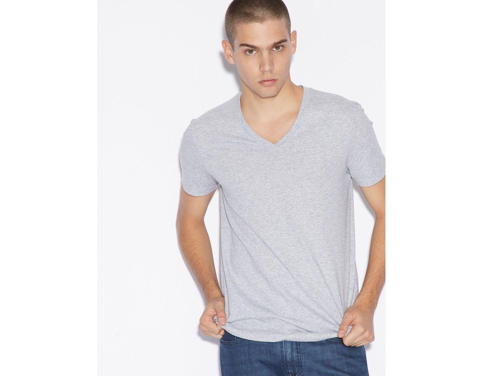 a93cd2cae3 Men's Gray Slim-fit V-neck Pima Cotton T-shirt