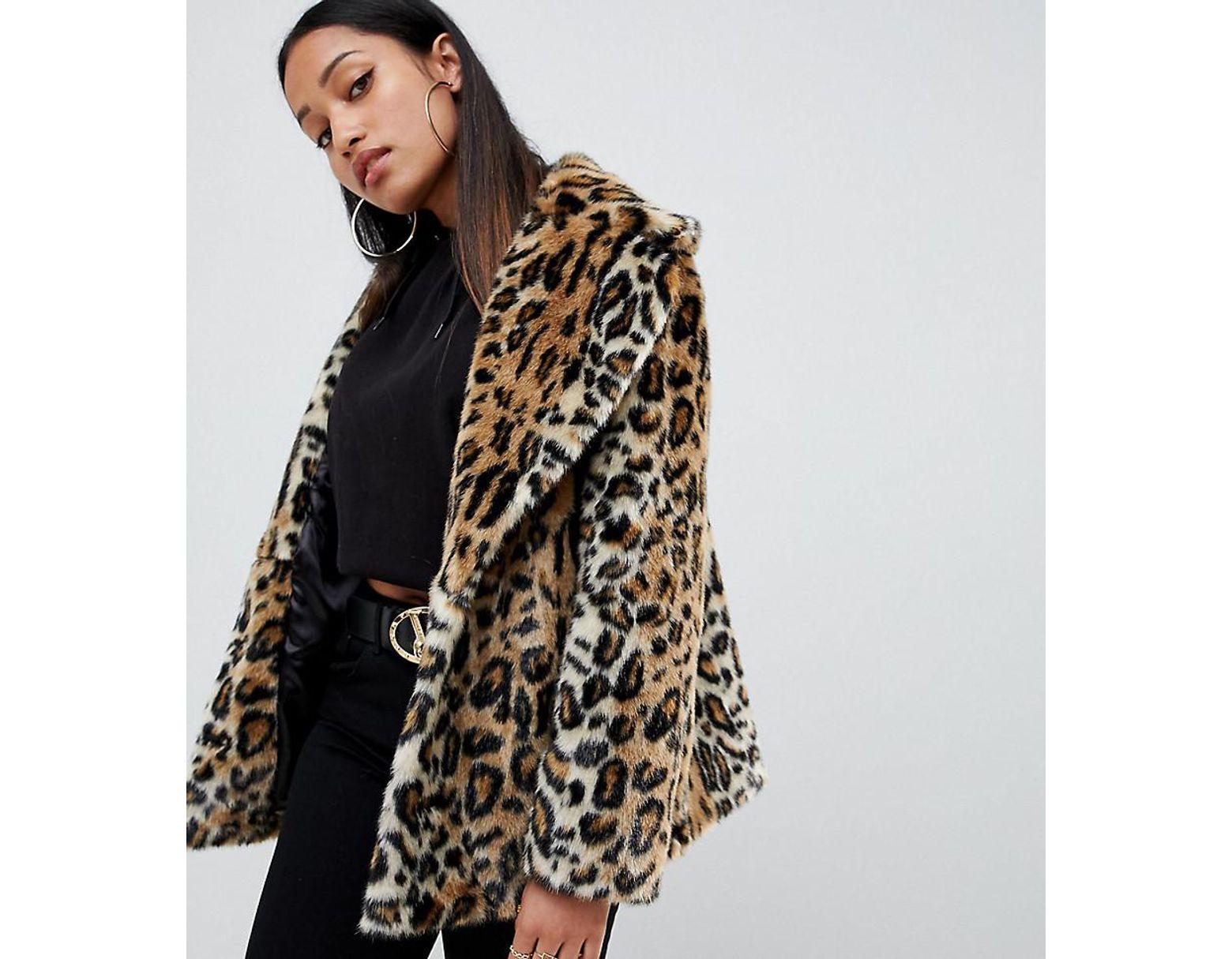 Women's Fur Coat Asos Animal Faux Design Petite kZiOXuP