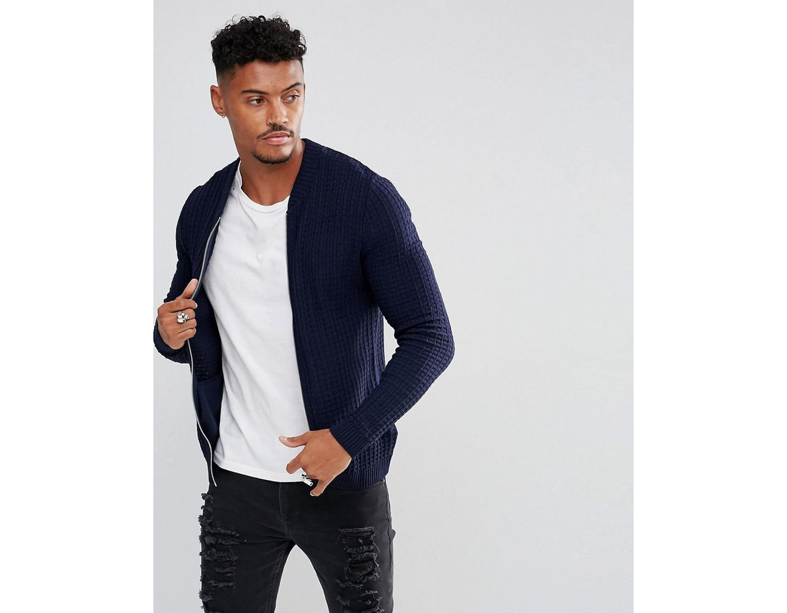 3b871541c Men's Blue Asos Knitted Muscle Fit Bomber Jacket In Navy