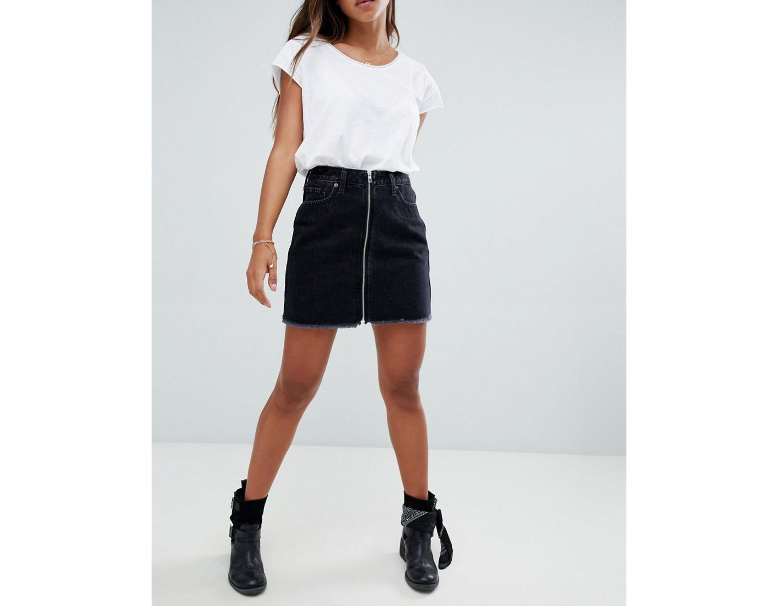 8f08090448 Abercrombie & Fitch Zip Thru Denim Mini Skirt in Black - Lyst