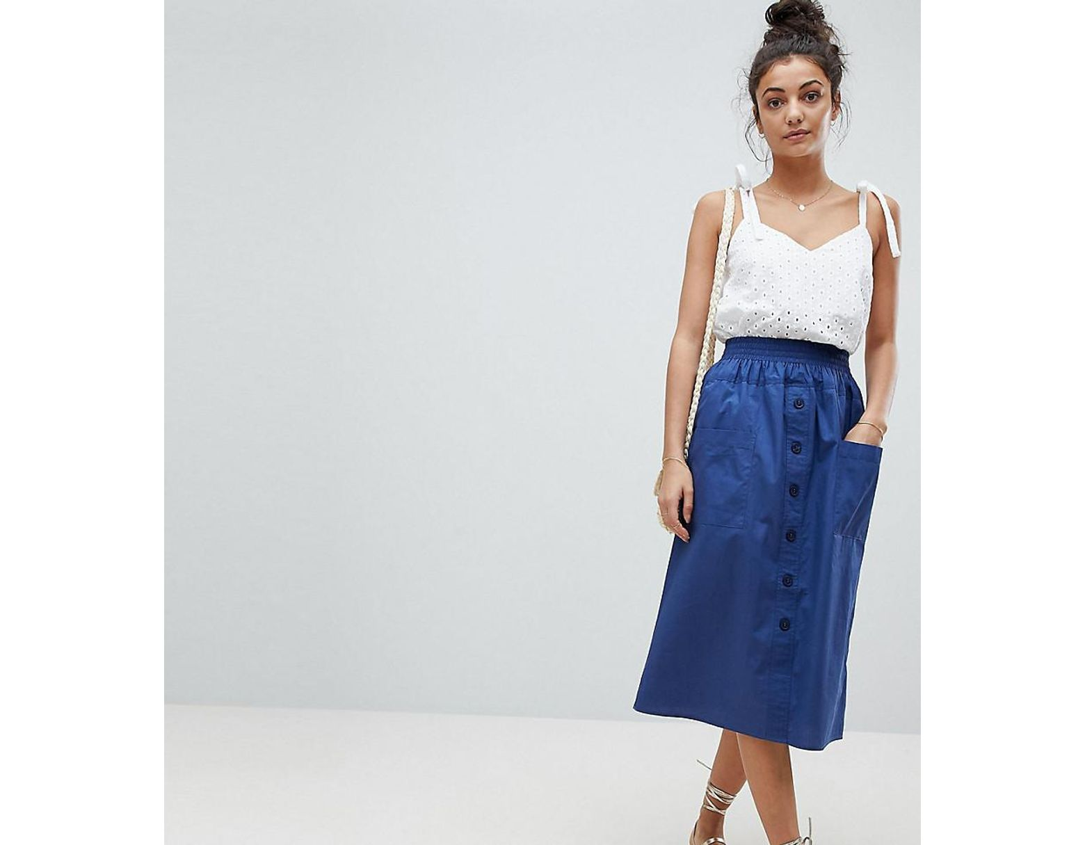 8fd01e5f609d99 Jupe mi-longue en coton boutonnée sur le devant femme de coloris bleu
