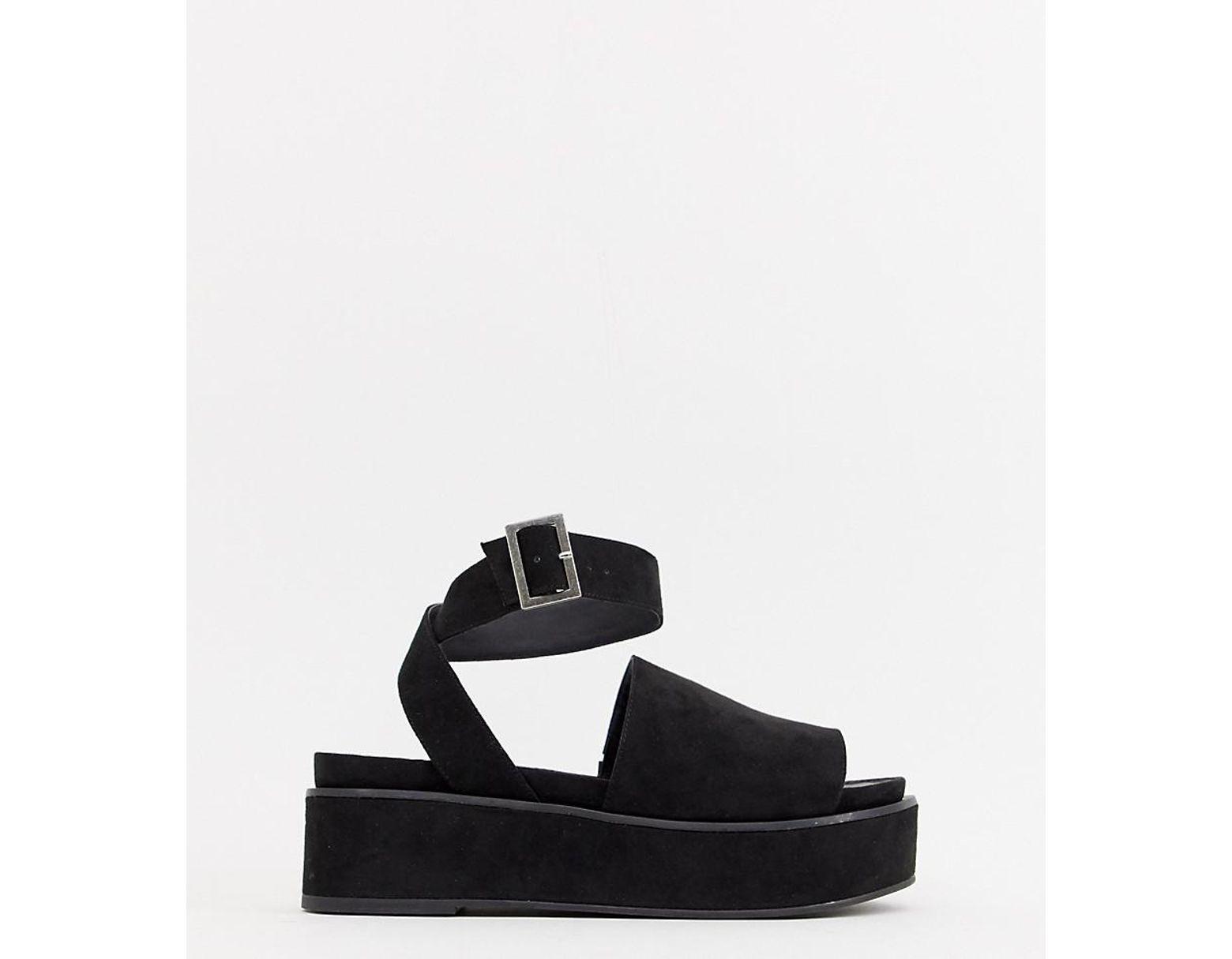 b94b1a7165 ASOS Taylor Flatform Sandals in Black - Lyst