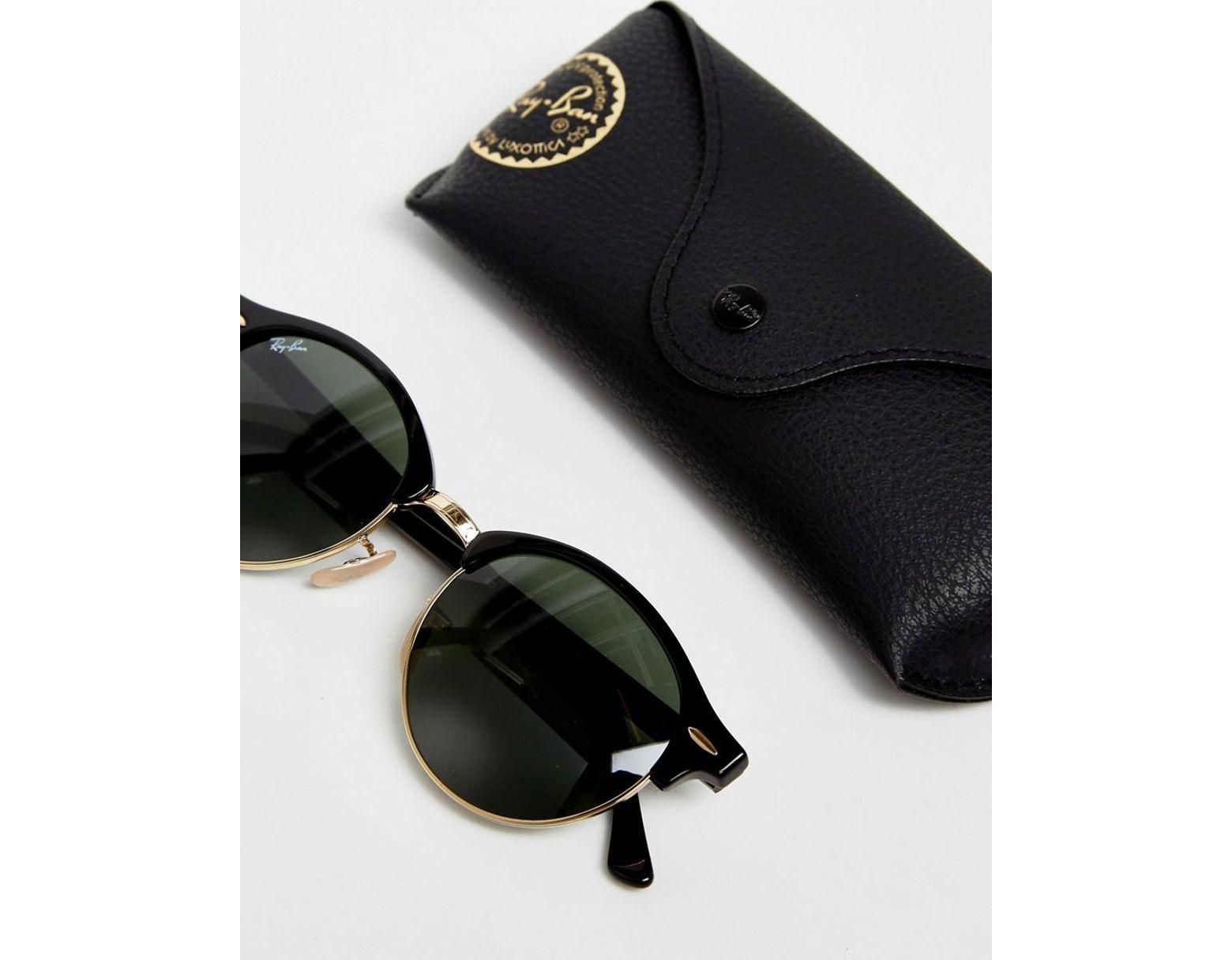 56b4a000d0 Gafas de sol redondas estilo Clubmaster 0RB4246 de Ray-Ban de hombre de color  Negro - Lyst