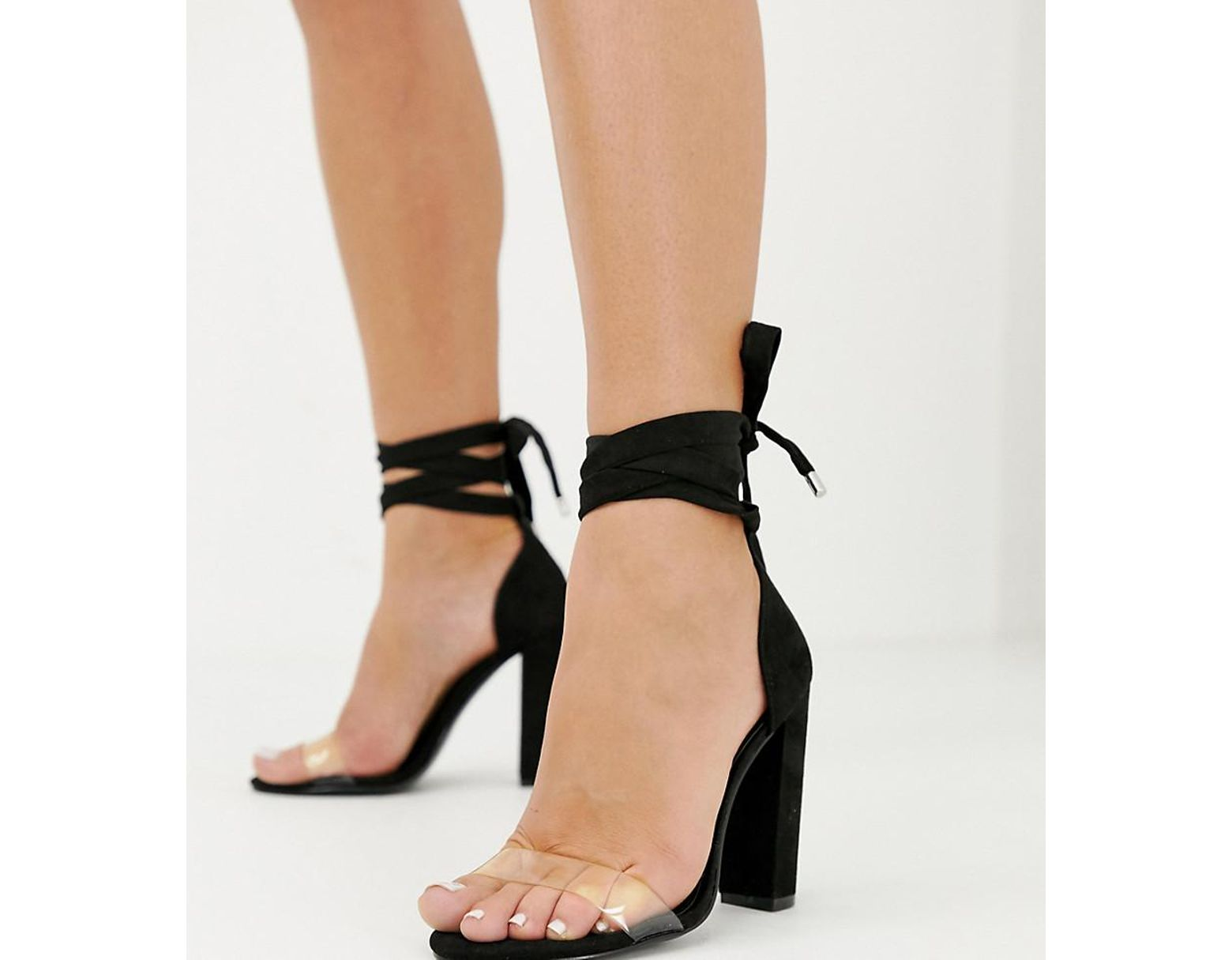 980dd458d97 Women's Black Wide Fit Witness Clear Barely There Block Heeled Sandals