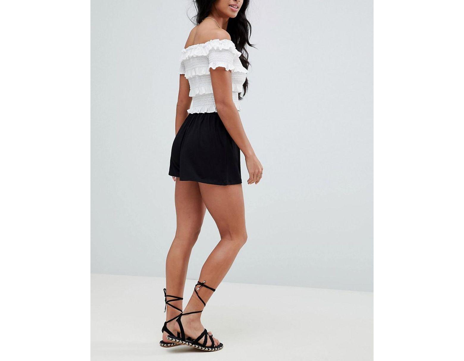 Short Coloris Culotte De Noir Style Jupe Femme Yg6yb7f
