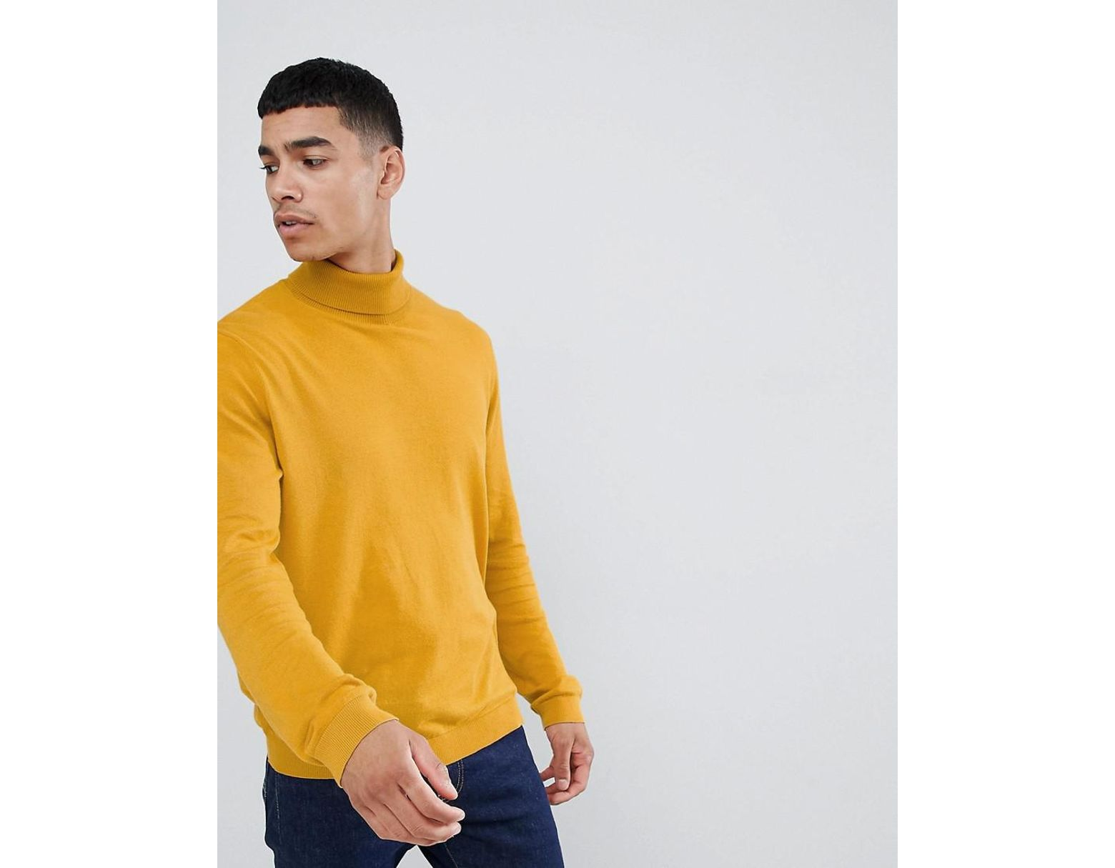 32e8f9c31d1 Men's Yellow Cotton Roll Neck Jumper In Mustard