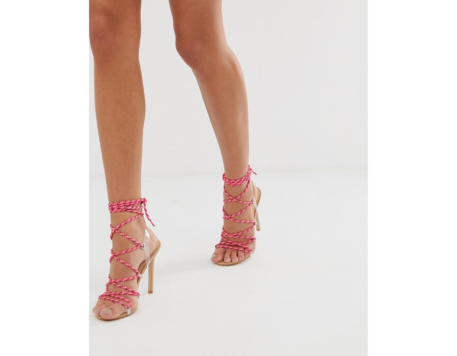 14a601bf682 Women's Pink Playa Blush Tie Up Heeled Sandals