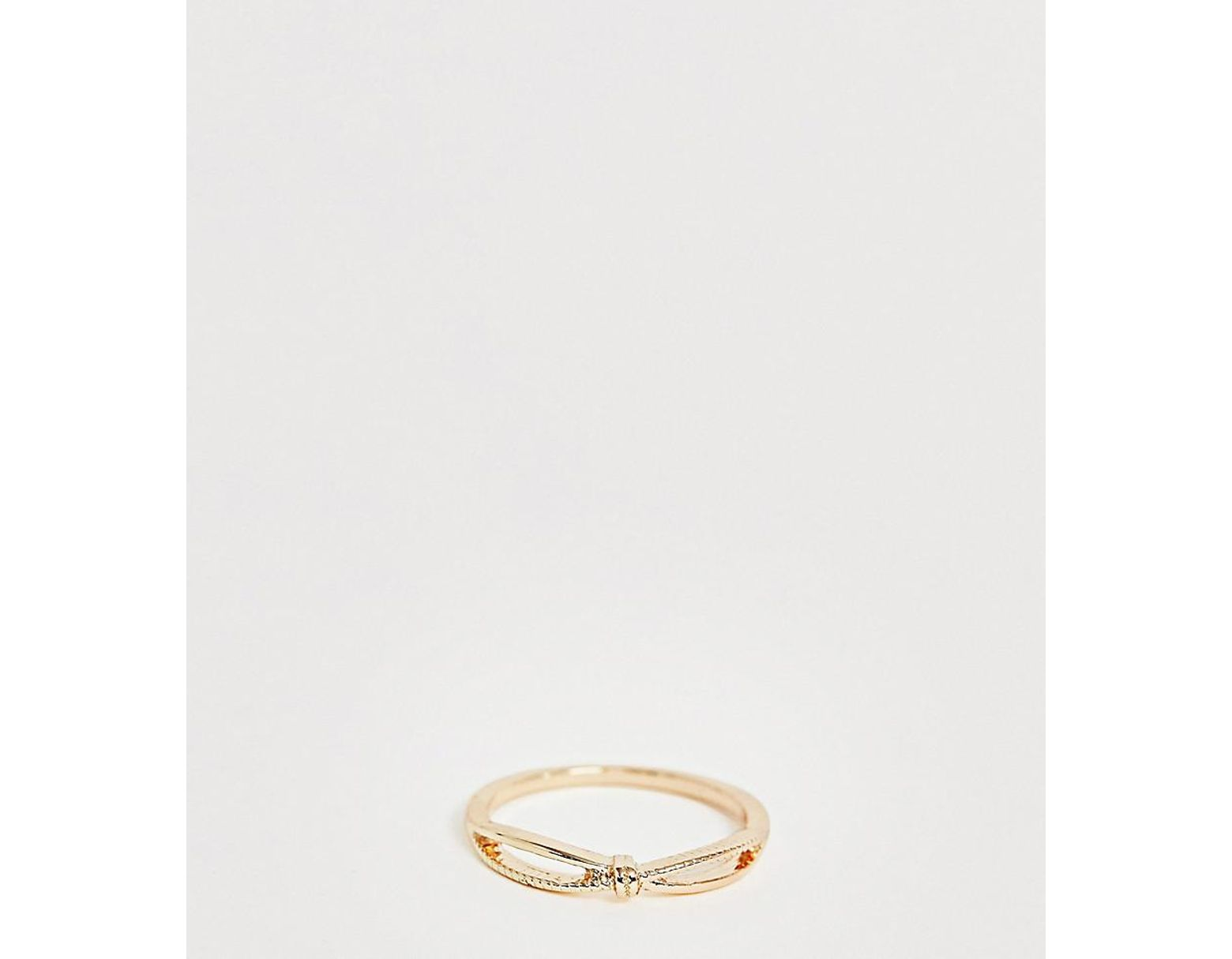 2005437750edc Women's Metallic Asos Design Curve Thumb Ring In Knotted Cross Twist Design  In Gold