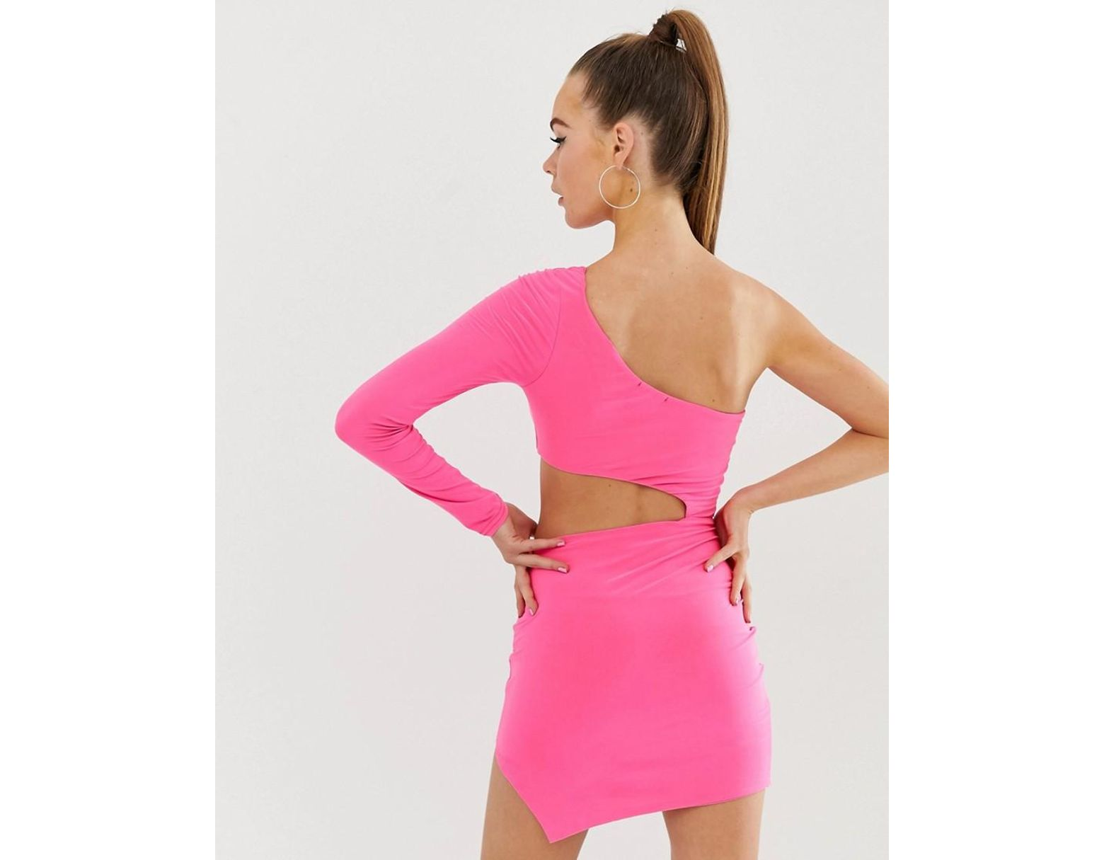 5231f38fdcc Women's One Shoulder Cut Out Bodycon Dress In Neon Pink
