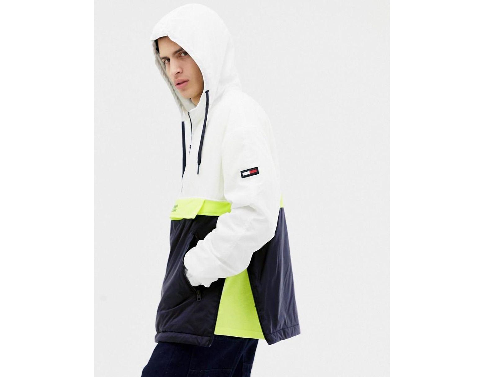 Hoodie à capuche style color block à enfiler avec logo sur le devant Blancjaunebleu marine homme