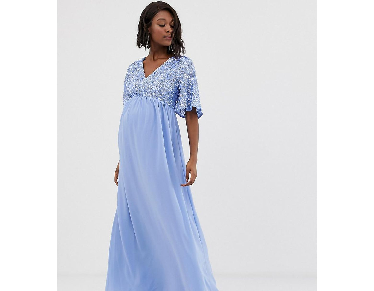 c3abf516 Maya Petite Long Sleeve Sequin Top Maxi Tulle Dress