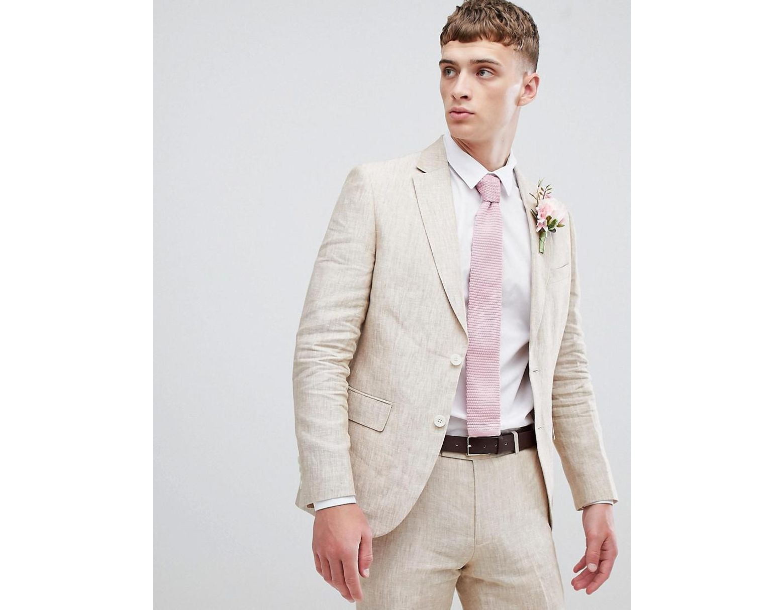 f3411cb787b934 Moss Bros Moss London Skinny Suit Jacket In Cream Linen in Natural for Men  - Lyst