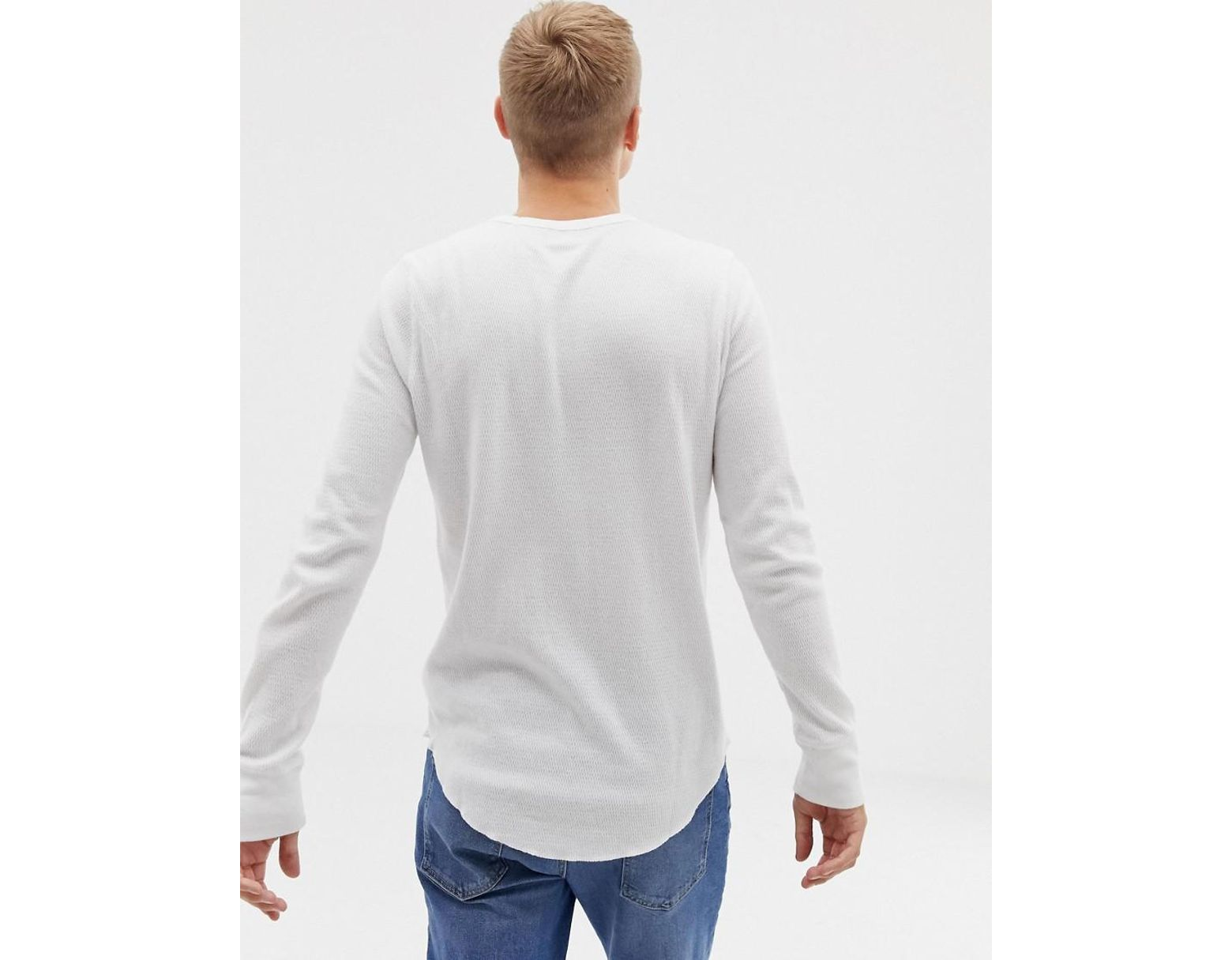 8c8a9bb60fde Hollister Icon Logo Waffle Long Sleeve Top In White in White for Men - Lyst