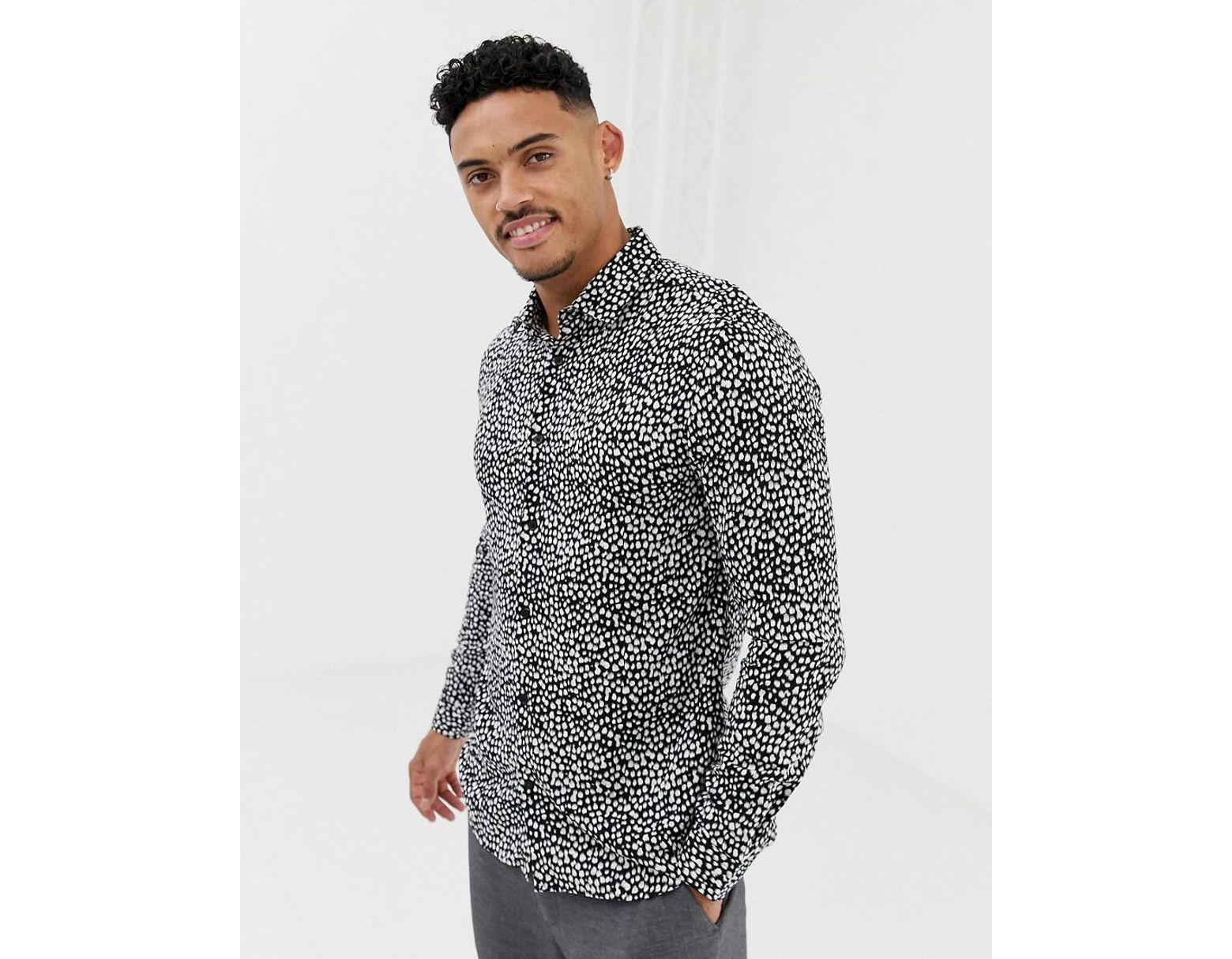bf0fe31a0bf3 River Island Skinny Fit Shirt In Leopard Print Black in Black for Men - Lyst