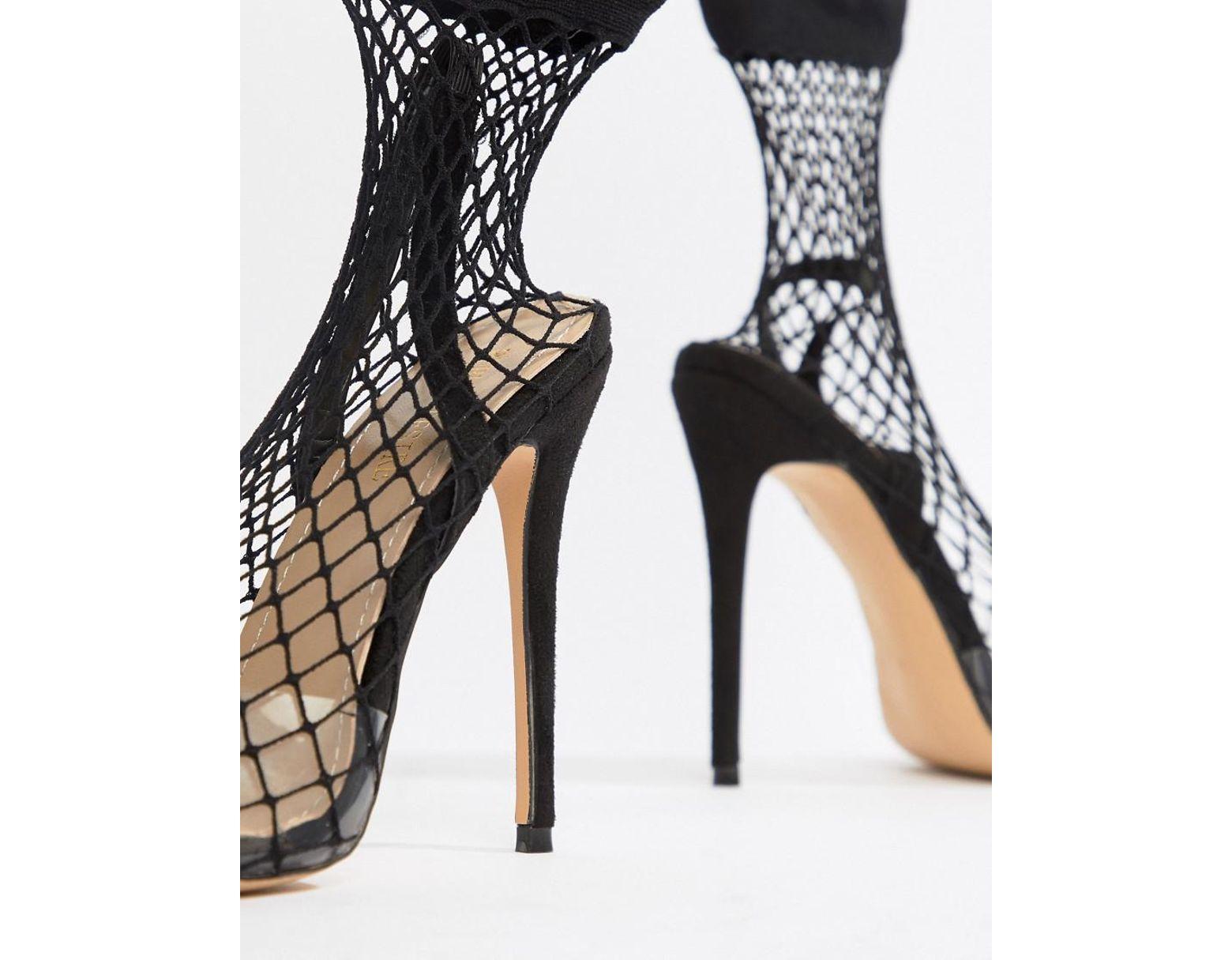 Women S Wink Black Fishnet Heeled Shoes