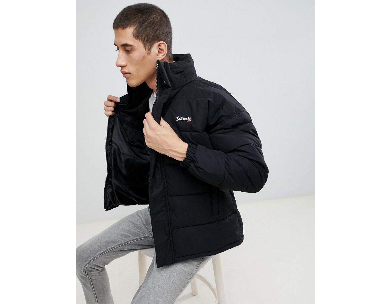 feb7fd394 Men's Nebraska Puffer Jacket Stowaway Hood Regular Fit In Black