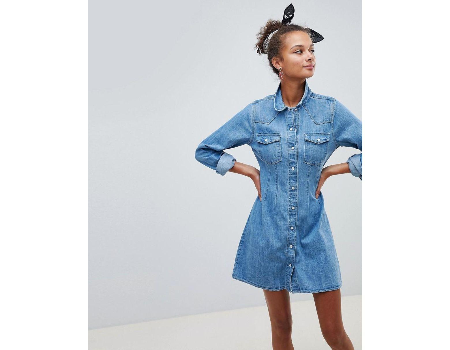 e5b35c5c00a68 Robe chemise en jean ajustée style western avec surpiqûres - Bleu délavage  moyen ASOS en coloris Bleu - Lyst