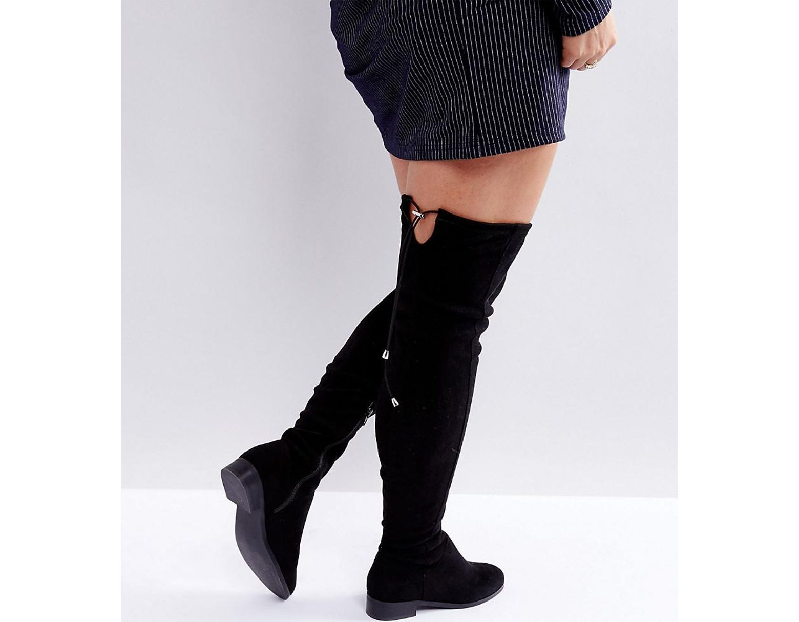 eac1f0586f9 Women's Black Keep Up Wide Fit Tall Over The Knee Boots