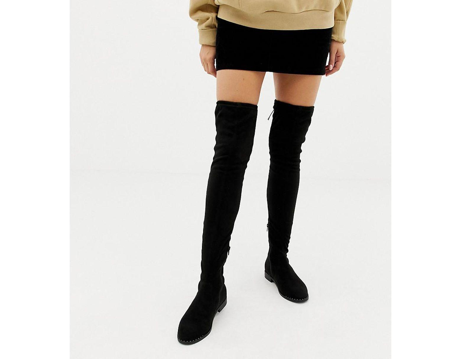 49dc8f4276a Women's Black Wide Fit Extra Wide Leg Kaska Flat Studded Thigh High Boots
